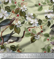 Soimoi Bird And Floral Print 58 Inches Wide Fabric Deocrative By The 1 Metre