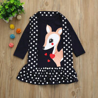 Toddler Baby Girls Kids Dress Clothes Long Sleeve Dot Deer Tops T-Shirt Dress