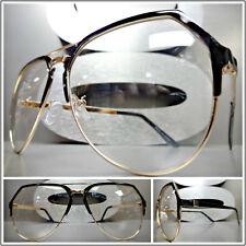 Mens Women VINTAGE RETRO Style Clear Lens EYE GLASSES Black & Gold Fashion Frame