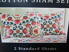 "New ANNABELL Floral Two Standard Shams 21""x27""- Multi Color Flower NIP"