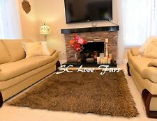 Brown Mountain Coyote Stripes Exotic Furry Area Rug Faux Fur Home Accents Decors