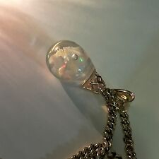 14k Solid Yellow Gold Floating Genuine Opal Pieces Glass Bulb Pendant