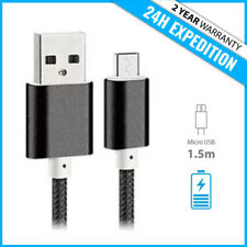 Micro USB 2.0 Strong Braided 1.5M Fast Data Cable Charger Chargeur Black Noir