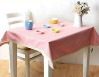 Polka Dots Pink Table Cloth - Cotton with Lace Trim Home Decor Party Shabby Chic
