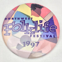 Northwest Folk Life Festival 1997 Vintage pinback Button Seattle Washington