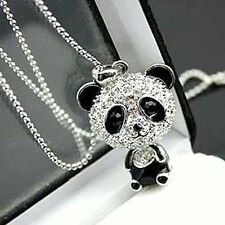 Super cute silver tone movable crystal panda necklace