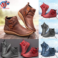 Women Retro Flat Ankle Boots Ladies PU Leather Soft Comfy Booties Shoes Size 6-9