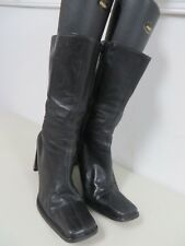 VERA GOMMA  Italy  soft leather zipper ~ ankle ~ heels black boots  EU 35   US 5