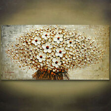 Modern hand-painted Art Oil Painting Wall Decor canvas,White Flower(No Frame)