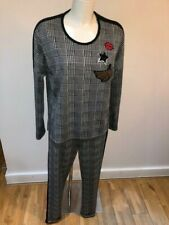 Doris Streich Matching Top and Bottoms Prince of Wales Plaid with Black Piping