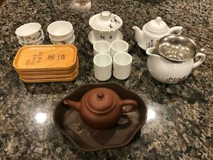 Full gongfu tea set: 1 glazed and 1 unglazed teapot + bonus cups!