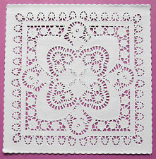 "SQUARE 8"" WHITE EMBOSSED DOILIES 20CM X 10 FOR ENVELOPES RARE TO FIND"