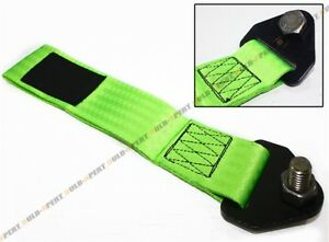 NEON GREEN JDM RACING HEAVY DUTY TOW TOWING STRAP RATED AT 10,000 LB FOR SUBARU