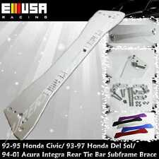 EMUSA Rear Tie Bar Subframe Brace SILVER for 1993-1997 Honda Civic Del Sol