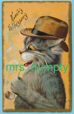 Un/S Maurice Boulanger~Dressed Fantasy Cat Smokes Pipe~EARLY POSTCARD