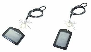 Black Braided Leather Lanyard with ID badge holder, 1 ID Window and 1 Card Slot
