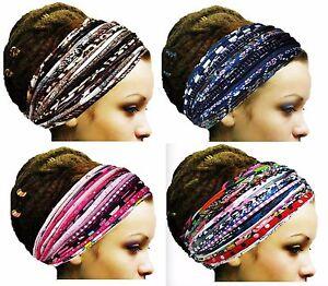 Gypsy Hippie Yoga Headband Chemo Headwear Wide Head Wrap Turban Dreadlock Scarf