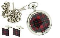 """Scottish Stewart Tartan Pocket Watch With 12"""" Chain + Cufflinks Xmas Gift Set"""