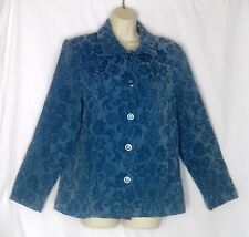 Womens M 10 Susan Graver Blue Tapestry Jacket A70088 Button Front Collar Fall