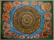 Russian Ukrainian Soviet Oil Painting symbolism Pointillism sunflower folk style