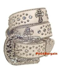 Western Rhinestone Crystal Bling White Cross Concho Leather Belt M SM