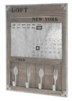 Memoboard NEW YORK Board mit Kalender & 4 Haken Magnettafel Holz Tafel Wandtafel