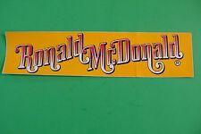 McDonalds' RONALD MCDONALD 1965 * PREIVUE advertisement bumper sticker, UNUSED