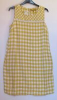 Next Linen Blend Shift Dress Yellow Gingham Print Summer Print - Size 8 - 18