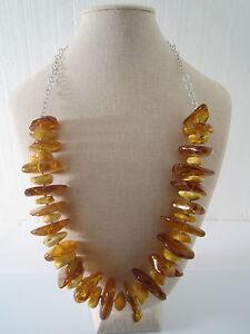 collana grandi chips di ambra grezza del baltico e catena in argento 925 rodiato