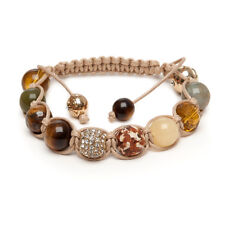 Shamballa Gemstone Bracelet Indian Agate Yellow Jade Gold Crystal Tigers Eye