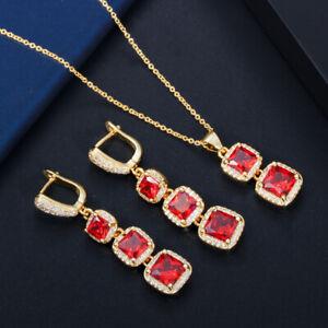 18 Karat Gold Zirkonia Rote Halskette Lange Quadratische Ohrringe Schmuck Set
