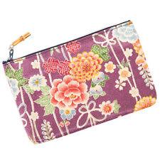 Purple Flower Japanese Pouch Bag