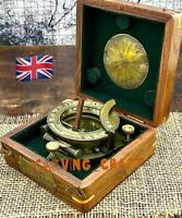 Portable Pocket Sundial Compass - Nautical sundial compass with hardwood Box