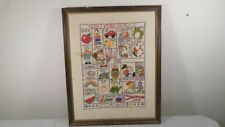"""Vintage Alphabet with Pictures Embroidered Sampler 19 x 23.5"""""""