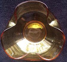 "MidCentury Honey Amber Glass Ruffled Bowl 5""Diameter 2""Height.No Chips Or Cracks"