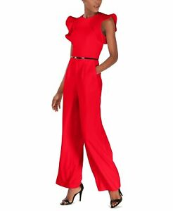 Calvin Klein Women's Jumpsuit Red US 6 Belted Ruffle Sleeve Solid $139- #360