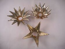 Set of 3 Vintage Tin Candle Holder Ring, Reflectors, Stars
