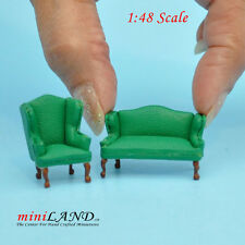 """1:48 1/4"""" quarter scale Queen Anne Leather Sofa /wing chair set GREEN Dollhouse"""