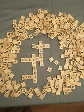 SCRABBLE or CRAFT TILES Single Replacement Tiles Wood Tan with Black Lettering
