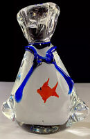 Vintage Italian Murano 'Fish In A Bag' Handblown Italian Art Glass Paperweight