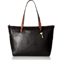 Fossil Women's Rachel Leather Tote Handbag, Black/Brown ZB 7507001