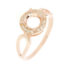 14K Rose Gold & Diamond Semi Mount Ring Setting Round 6x6 mm GS026R
