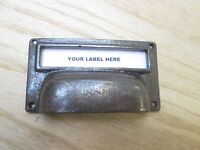 """4"""" ANTIQUE RUSTIC INDUSTRIAL NAME CABINET DRAWER HANDLE CAST IRON PULL CUP"""