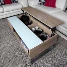 Couchtisch Azalea Beistelltisch Tisch Sonoma Eiche Sägerau Weiß Glas 110 cm