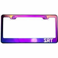 Polish Neo Neon Chrome License Plate Frame SRT Laser Etched Metal Screw Cap