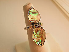 NEW BALI COUTURE SS/18K DOUBLE PASLEY ABALONE SHELL  RING SIZE 6 1/2