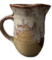 Vtg Art Deco Studio Pottery Vase Signed Drip Glaze Brown Colors Applied Handle