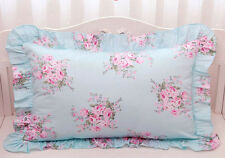 Shabby Chic Cottage Large Pink Floral Rose on Blue Ruffle Edge Pillow Case Sham