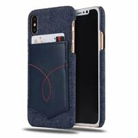 Für iPhone X Hülle Jeans Muster Leder Case Schutz Bumper TPU