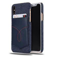 Apple iPhone X Hülle Jeans Muster Leder Case Schutz Bumper TPU